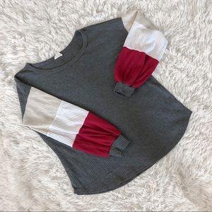 BIBI Color Block Sleeve Waffle Sweater